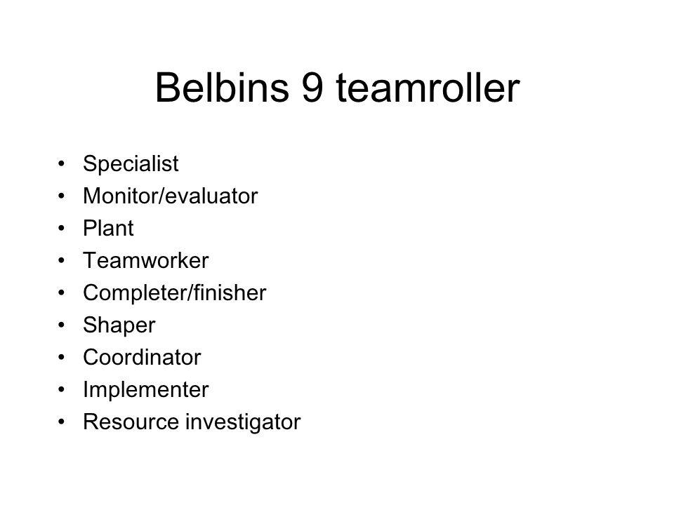 Belbins 9 teamroller Specialist Monitor/evaluator Plant Teamworker Completer/finisher Shaper Coordinator Implementer Resource investigator