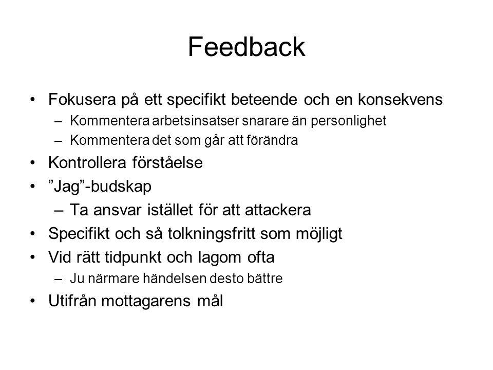 Feedback Fokusera på ett specifikt beteende och en konsekvens –Kommentera arbetsinsatser snarare än personlighet –Kommentera det som går att förändra