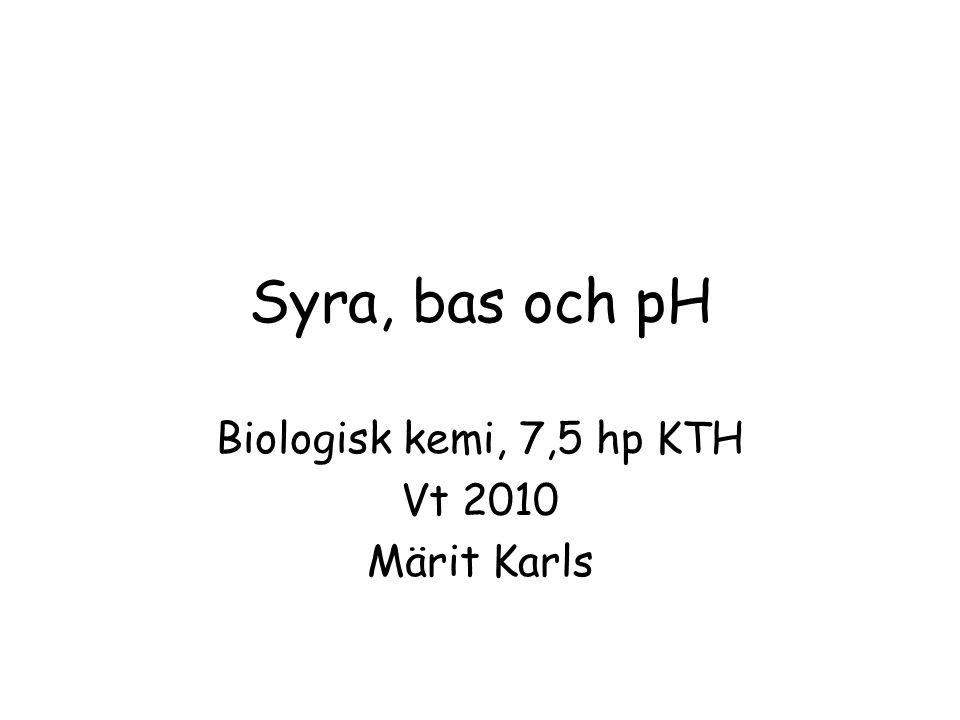 Syra, bas och pH Biologisk kemi, 7,5 hp KTH Vt 2010 Märit Karls