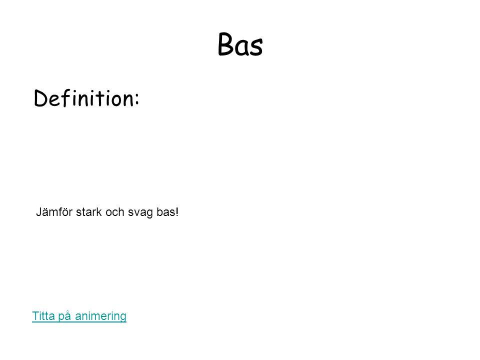 Bas Definition: Titta på animering Jämför stark och svag bas!