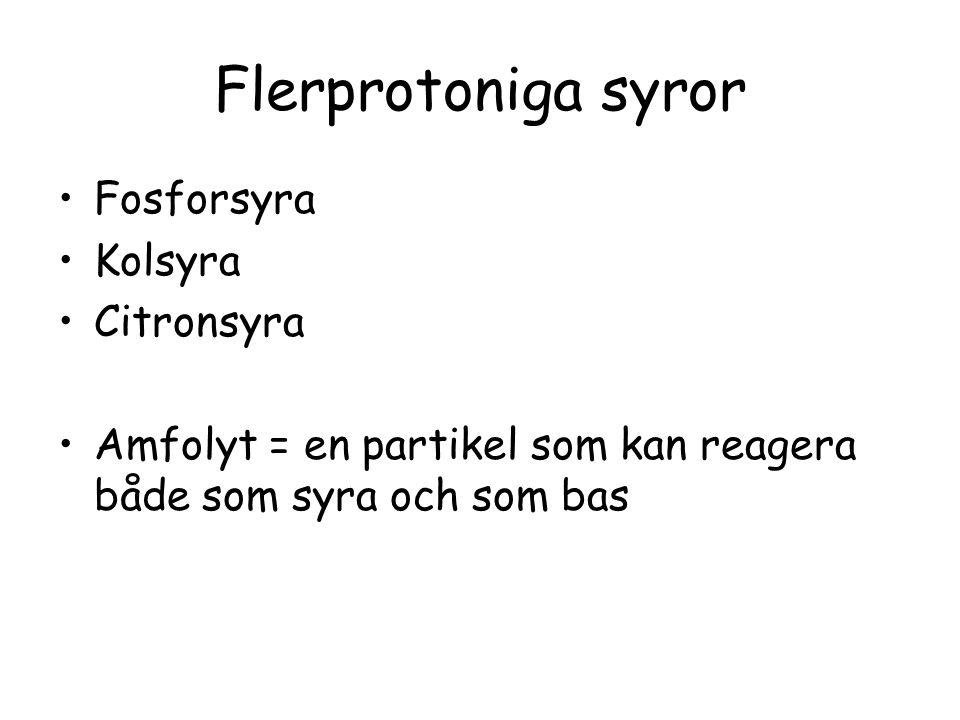 Flerprotoniga syror Fosforsyra Kolsyra Citronsyra Amfolyt = en partikel som kan reagera både som syra och som bas
