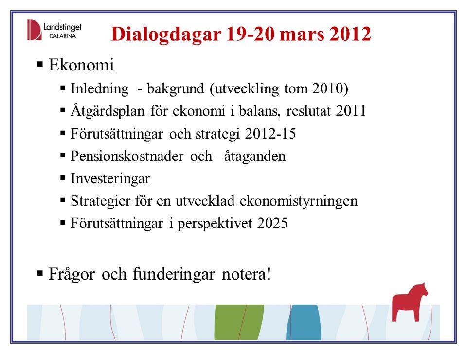 Dialogdagar 19-20 mars 2012  Ekonomi  Inledning - bakgrund (utveckling tom 2010)  Åtgärdsplan för ekonomi i balans, reslutat 2011  Förutsättningar