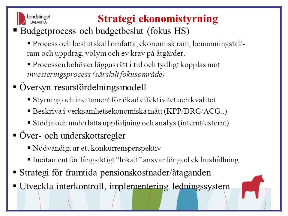 Strategi ekonomistyrning  Budgetprocess och budgetbeslut (fokus HS)  Process och beslut skall omfatta; ekonomisk ram, bemanningstal/- ram och uppdra