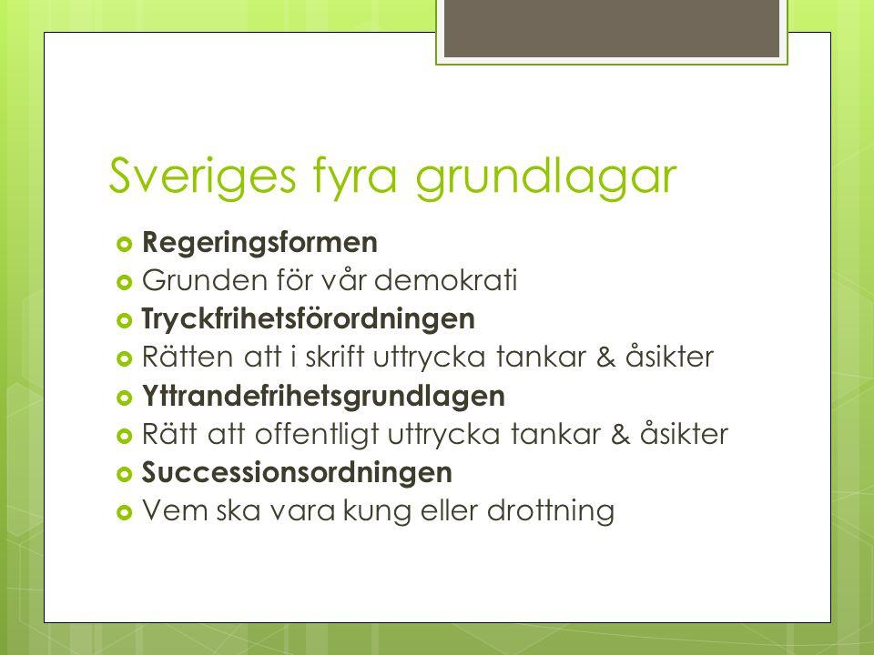 Sveriges fyra grundlagar  Regeringsformen  Grunden för vår demokrati  Tryckfrihetsförordningen  Rätten att i skrift uttrycka tankar & åsikter  Yt