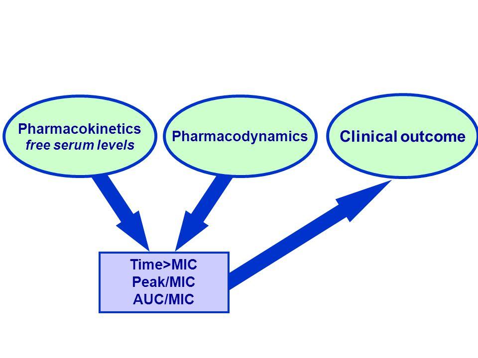 Time>MIC Peak/MIC AUC/MIC Pharmacodynamics Pharmacokinetics free serum levels Clinical outcome