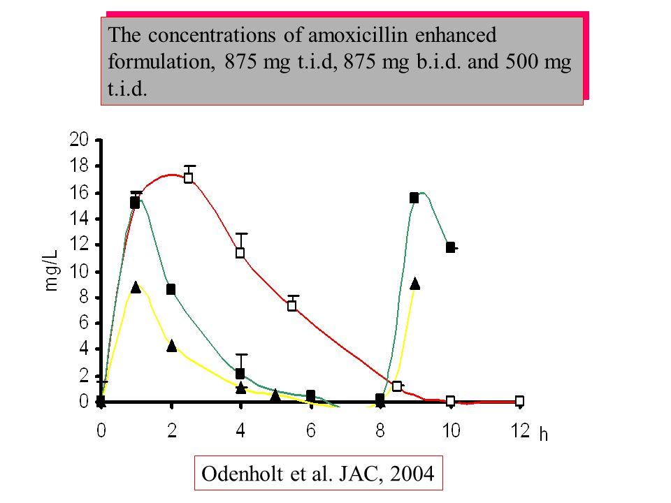The concentrations of amoxicillin enhanced formulation, 875 mg t.i.d, 875 mg b.i.d. and 500 mg t.i.d. Odenholt et al. JAC, 2004