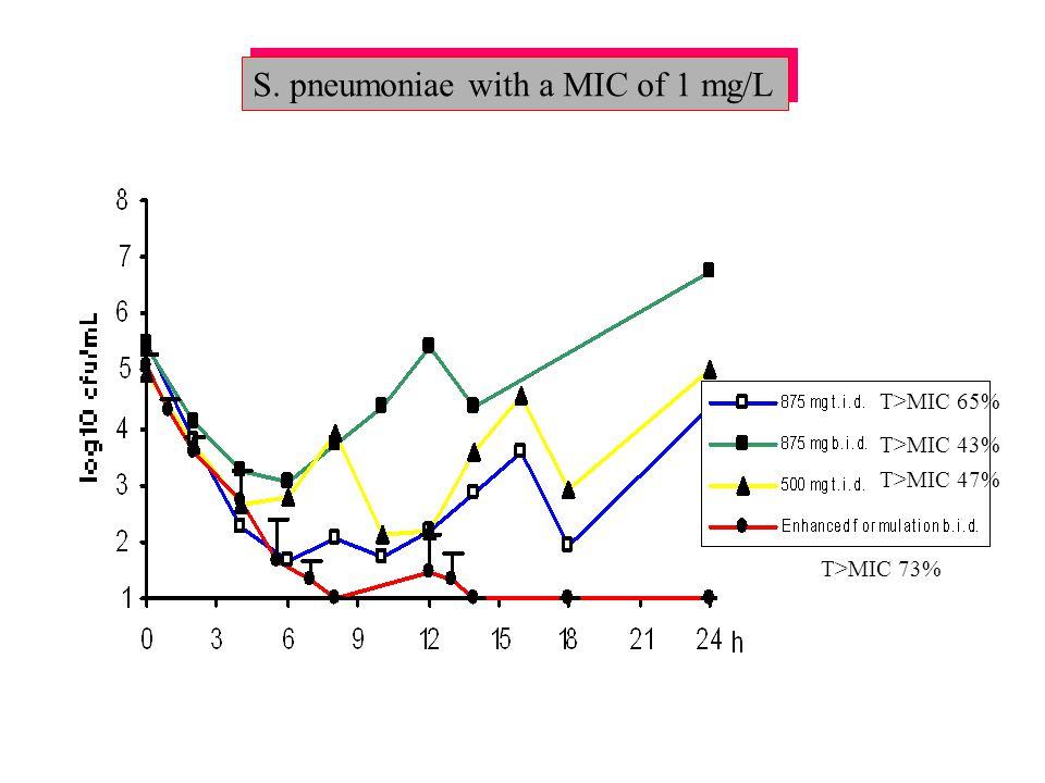S. pneumoniae with a MIC of 1 mg/L T>MIC 65% T>MIC 43% T>MIC 47% T>MIC 73%