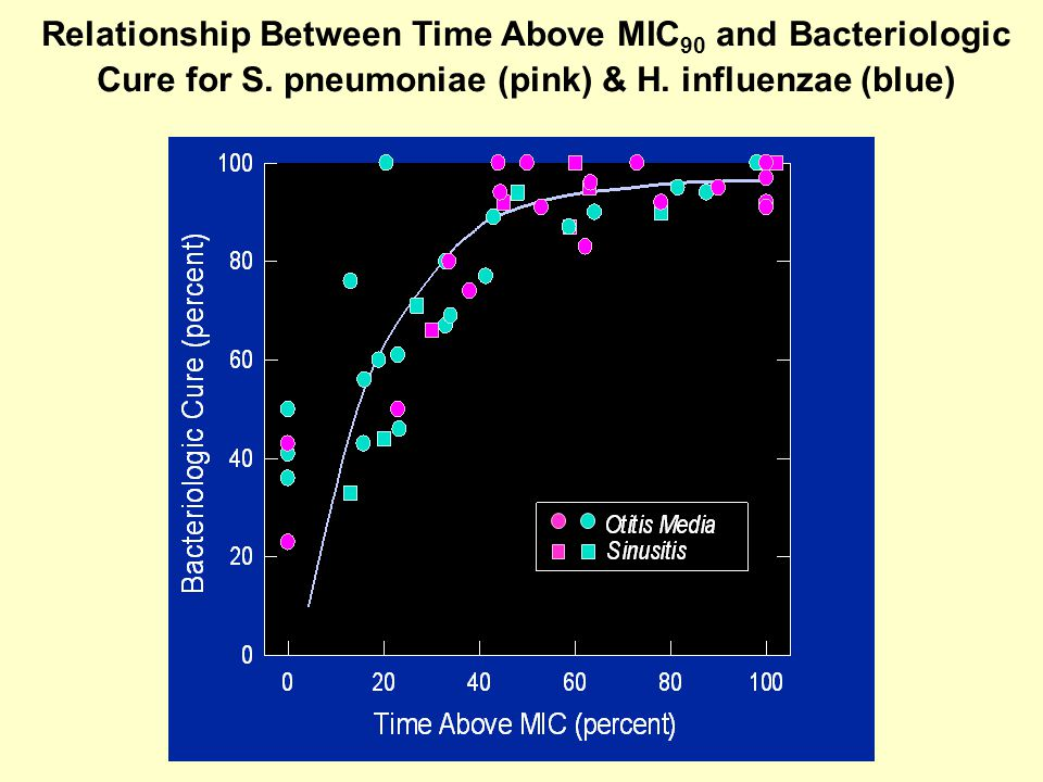 Relationship Between Time Above MIC 90 and Bacteriologic Cure for S. pneumoniae (pink) & H. influenzae (blue)