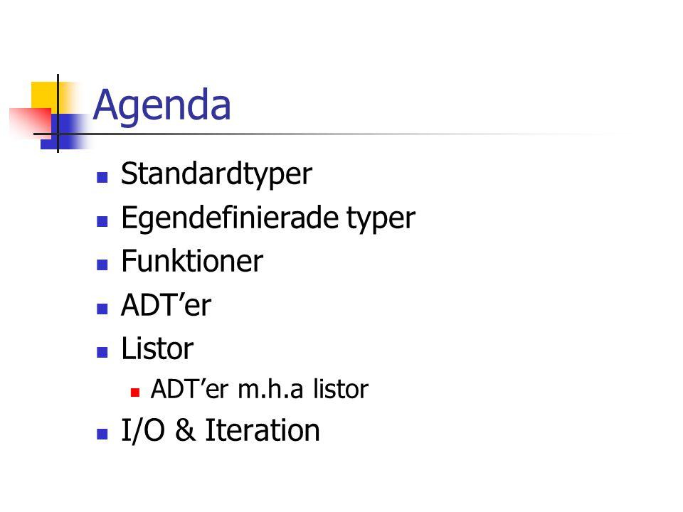 Agenda Standardtyper Egendefinierade typer Funktioner ADT'er Listor ADT'er m.h.a listor I/O & Iteration