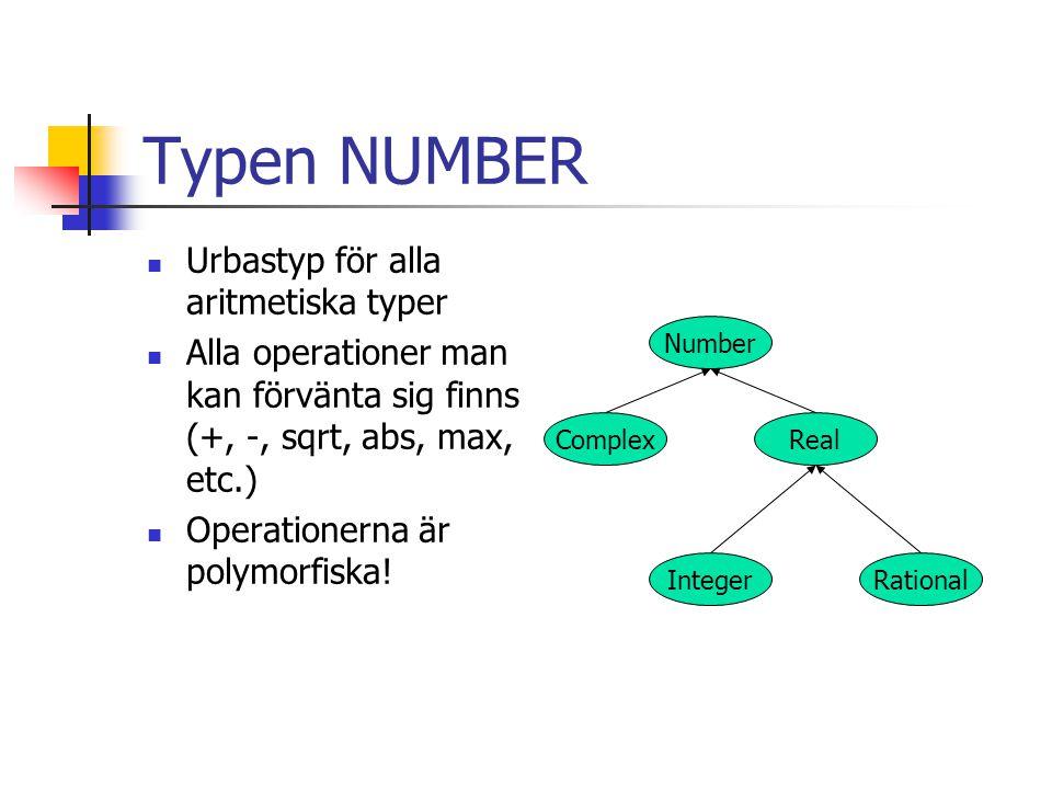 Typen NUMBER Urbastyp för alla aritmetiska typer Alla operationer man kan förvänta sig finns (+, -, sqrt, abs, max, etc.) Operationerna är polymorfisk