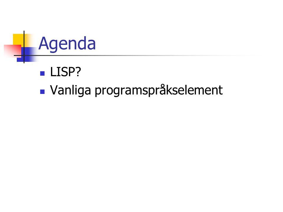 Agenda LISP? Vanliga programspråkselement