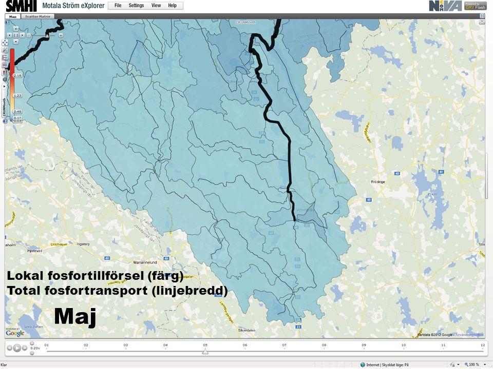 Lokal fosfortillförsel (färg) Total fosfortransport (linjebredd) Maj
