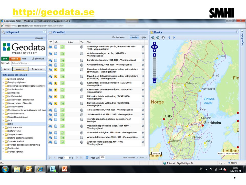 Web service API VattenWebb ska tillgodose två huvudbehov  Data för GIS-analyser av stora geografiska områden ( bredden ).