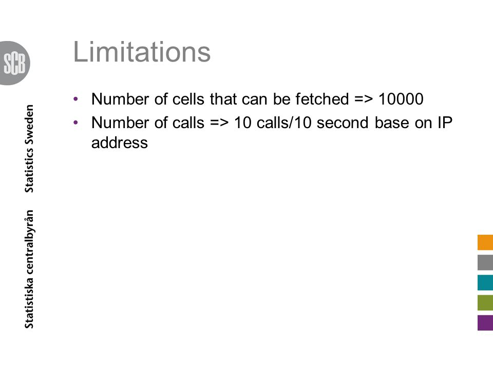 Limitations Number of cells that can be fetched => 10000 Number of calls => 10 calls/10 second base on IP address