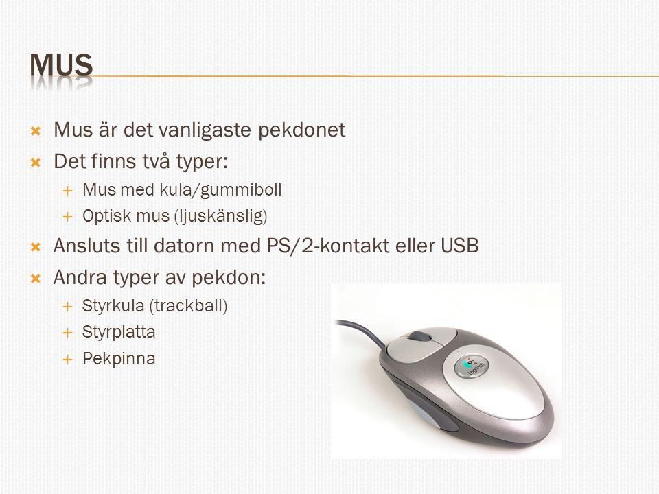  Mus är det vanligaste pekdonet  Det finns två typer:  Mus med kula/gummiboll  Optisk mus (ljuskänslig)  Ansluts till datorn med PS/2-kontakt ell