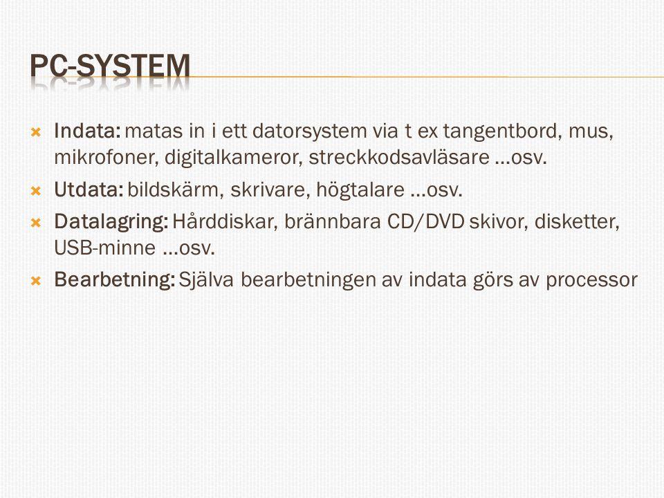  Indata: matas in i ett datorsystem via t ex tangentbord, mus, mikrofoner, digitalkameror, streckkodsavläsare …osv.  Utdata: bildskärm, skrivare, hö