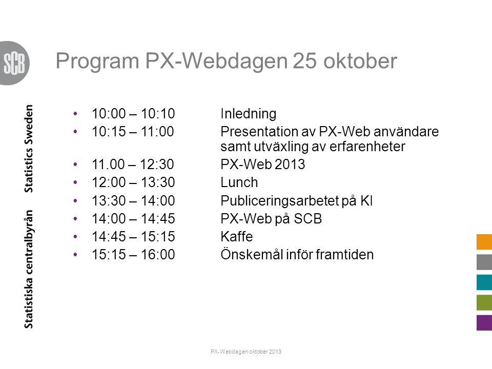 Program PX-Webdagen 25 oktober 10:00 – 10:10Inledning 10:15 – 11:00Presentation av PX-Web användare samt utväxling av erfarenheter 11.00 – 12:30PX-Web 2013 12:00 – 13:30Lunch 13:30 – 14:00Publiceringsarbetet på KI 14:00 – 14:45 PX-Web på SCB 14:45 – 15:15Kaffe 15:15 – 16:00Önskemål inför framtiden PX-Webdagen oktober 2013