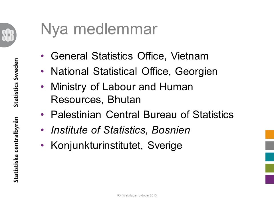 Nya medlemmar General Statistics Office, Vietnam National Statistical Office, Georgien Ministry of Labour and Human Resources, Bhutan Palestinian Cent