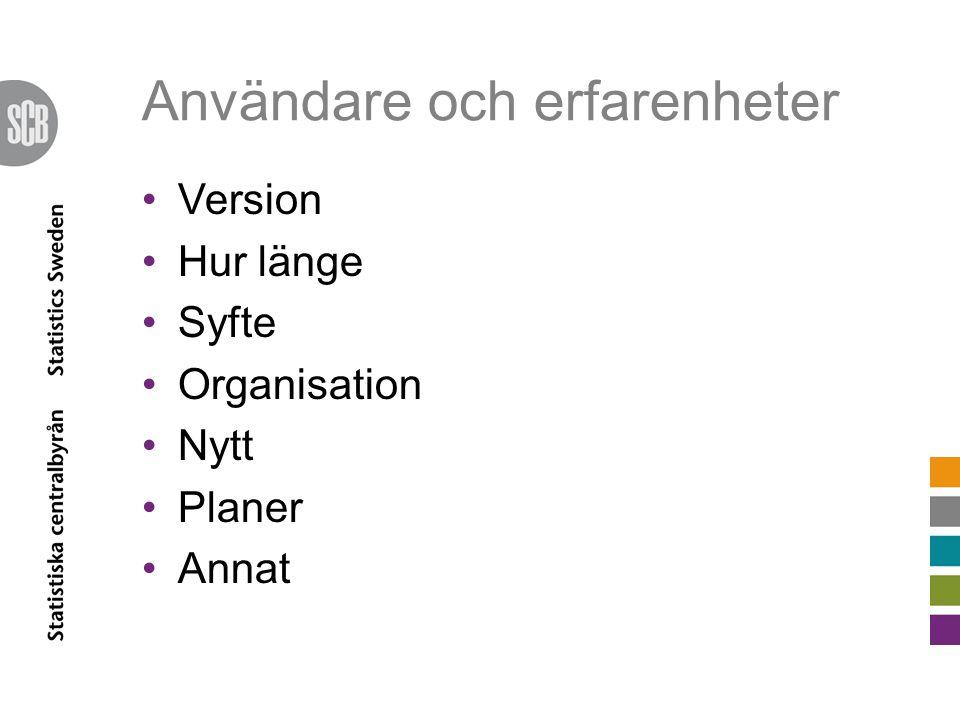 Användare och erfarenheter Version Hur länge Syfte Organisation Nytt Planer Annat