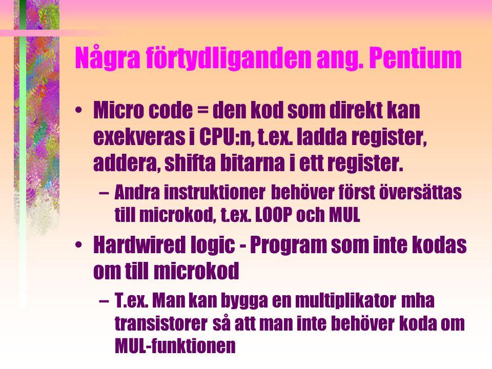 Några förtydliganden ang. Pentium Micro code = den kod som direkt kan exekveras i CPU:n, t.ex.