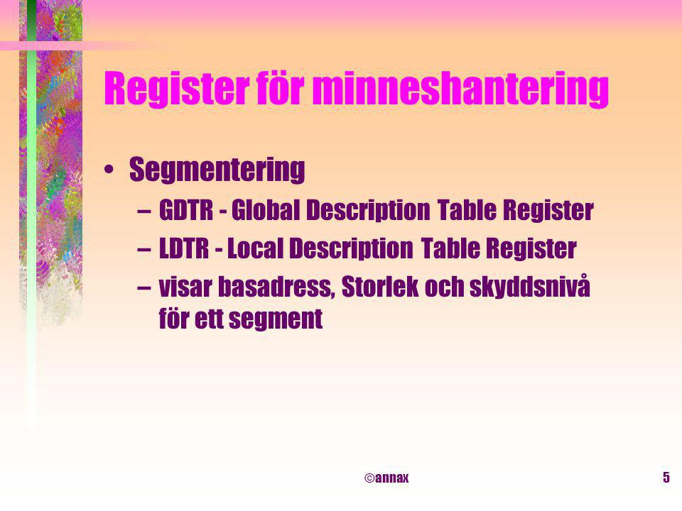 ©annax5 Register för minneshantering Segmentering –GDTR - Global Description Table Register –LDTR - Local Description Table Register –visar basadress,