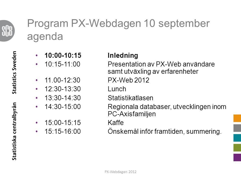 På gång i PC-Axis familjen Produkter i stort Internationellt användarmöte maj Kartor i PX-Web PX-Web fortsättning ReQtest Google-gruppen Kurs 14-15 november PX-Webdagen 2012