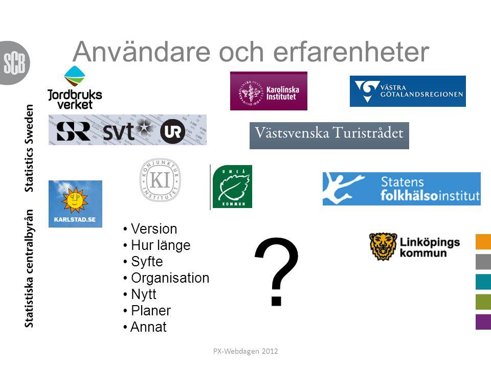 Användare och erfarenheter PX-Webdagen 2012 Version Hur länge Syfte Organisation Nytt Planer Annat ?