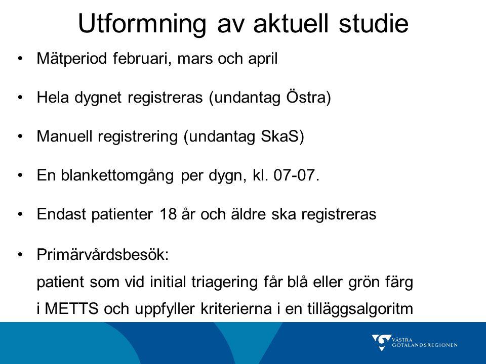 Mätperiod februari, mars och april Hela dygnet registreras (undantag Östra) Manuell registrering (undantag SkaS) En blankettomgång per dygn, kl. 07-07