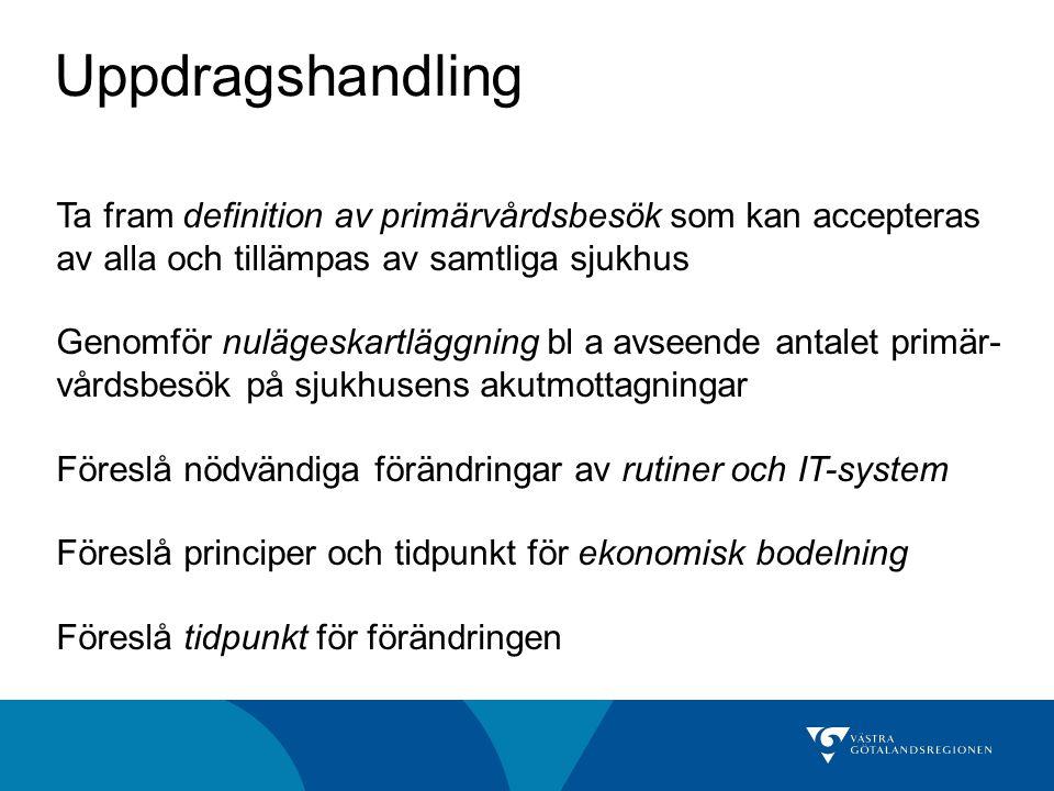 Uppdragshandling Ta fram definition av primärvårdsbesök som kan accepteras av alla och tillämpas av samtliga sjukhus Genomför nulägeskartläggning bl a