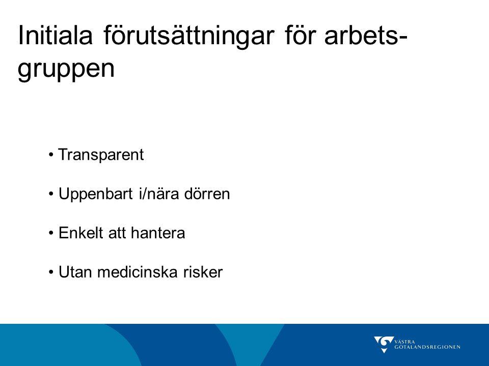 Initiala förutsättningar för arbets- gruppen Transparent Uppenbart i/nära dörren Enkelt att hantera Utan medicinska risker