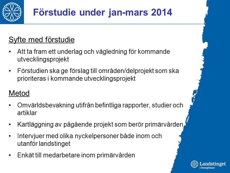 Förstudie under jan-mars 2014 Syfte med förstudie Att ta fram ett underlag och vägledning för kommande utvecklingsprojekt Förstudien ska ge förslag ti