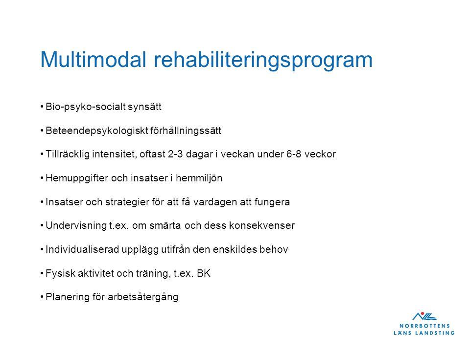 Multimodal rehabiliteringsprogram Bio-psyko-socialt synsätt Beteendepsykologiskt förhållningssätt Tillräcklig intensitet, oftast 2-3 dagar i veckan un