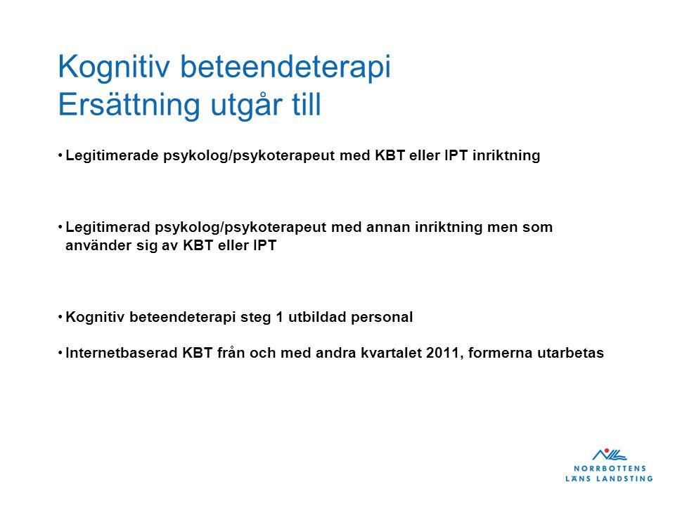 Kognitiv beteendeterapi Ersättning utgår till Legitimerade psykolog/psykoterapeut med KBT eller IPT inriktning Legitimerad psykolog/psykoterapeut med