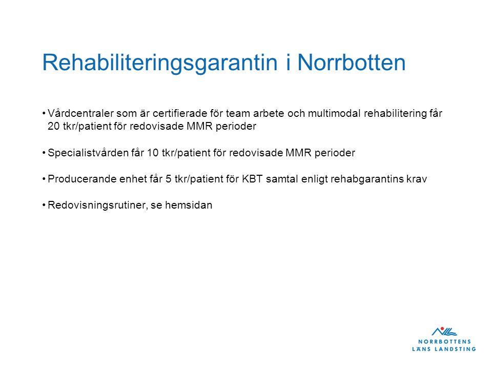 Rehabiliteringsgarantin i Norrbotten Vårdcentraler som är certifierade för team arbete och multimodal rehabilitering får 20 tkr/patient för redovisade