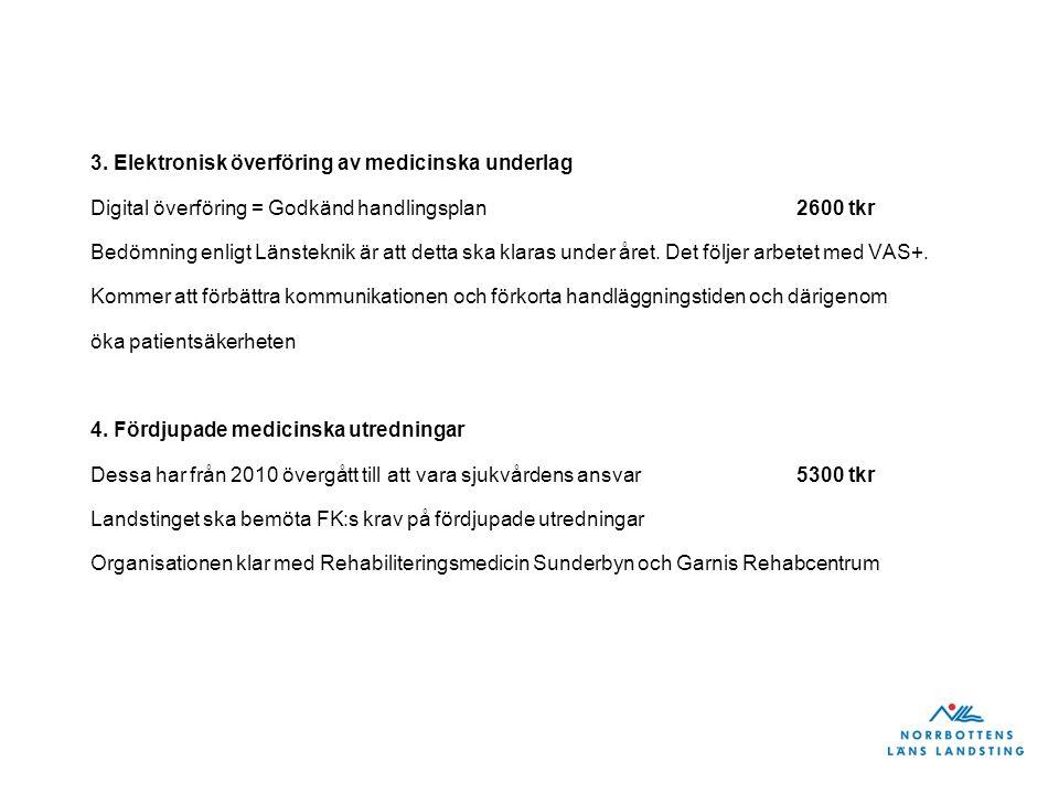 3. Elektronisk överföring av medicinska underlag Digital överföring = Godkänd handlingsplan2600 tkr Bedömning enligt Länsteknik är att detta ska klara