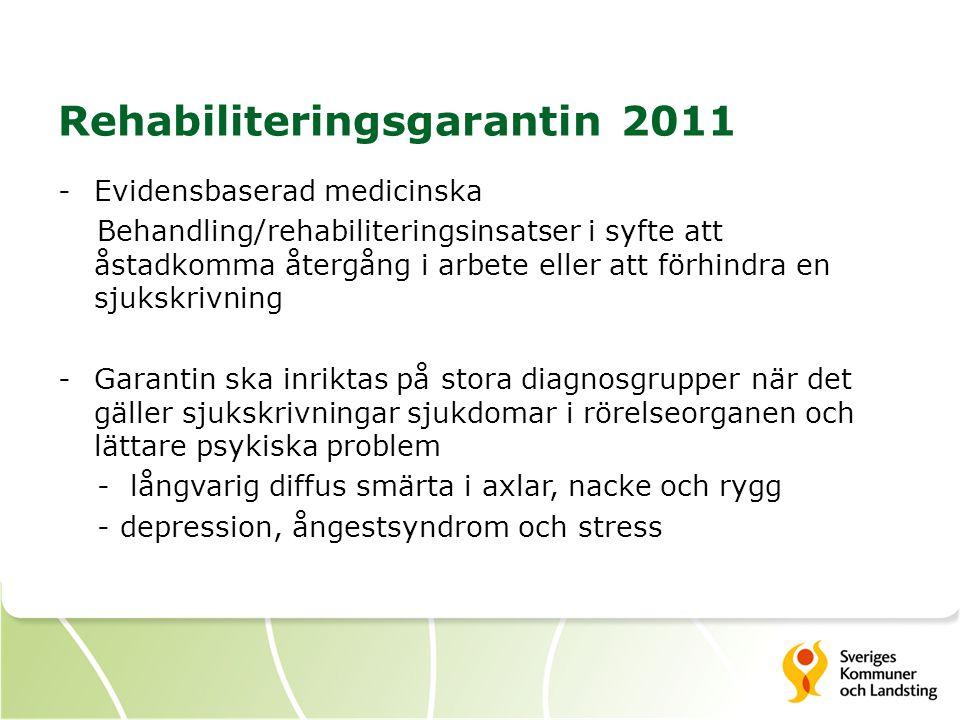 Rehabiliteringsgarantin 2011 -Evidensbaserad medicinska Behandling/rehabiliteringsinsatser i syfte att åstadkomma återgång i arbete eller att förhindra en sjukskrivning -Garantin ska inriktas på stora diagnosgrupper när det gäller sjukskrivningar sjukdomar i rörelseorganen och lättare psykiska problem - långvarig diffus smärta i axlar, nacke och rygg - depression, ångestsyndrom och stress