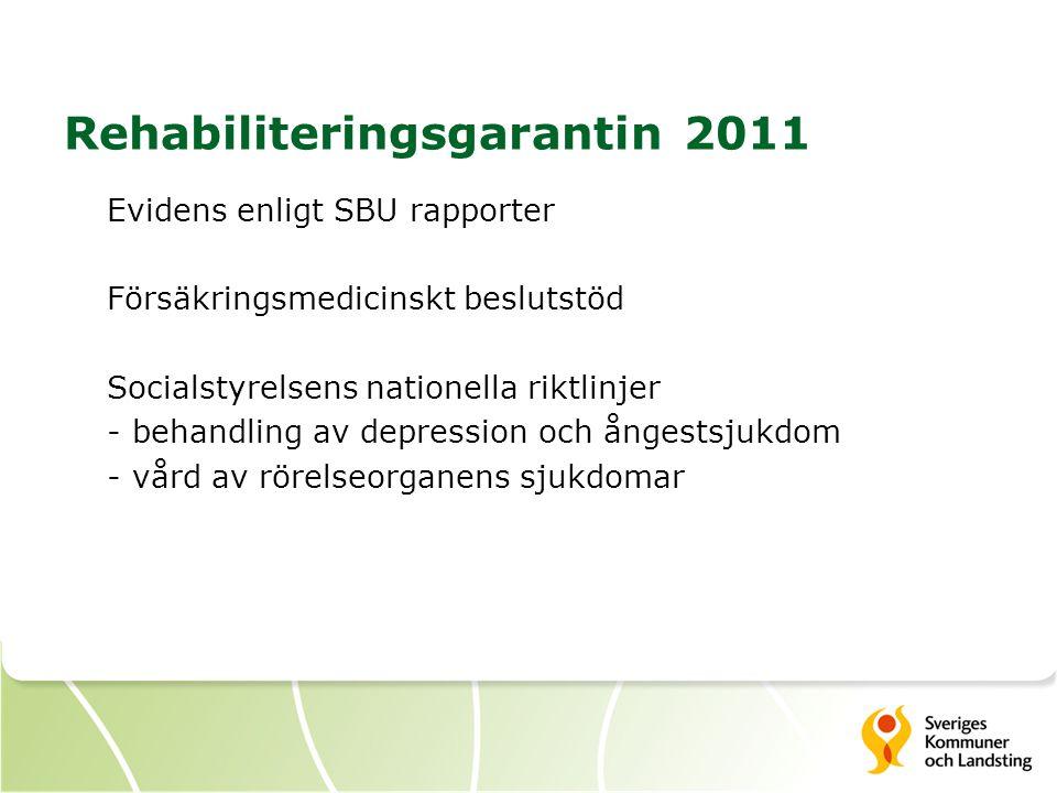 Rehabiliteringsgarantin 2011 Evidens enligt SBU rapporter Försäkringsmedicinskt beslutstöd Socialstyrelsens nationella riktlinjer - behandling av depression och ångestsjukdom - vård av rörelseorganens sjukdomar