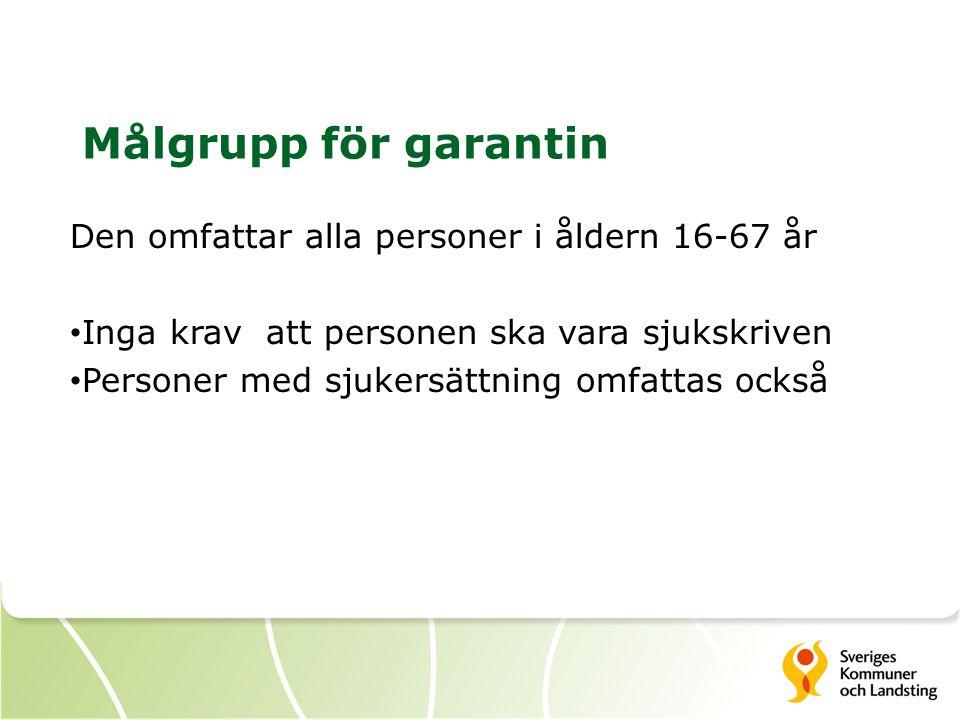Målgrupp för garantin Den omfattar alla personer i åldern 16-67 år Inga krav att personen ska vara sjukskriven Personer med sjukersättning omfattas oc