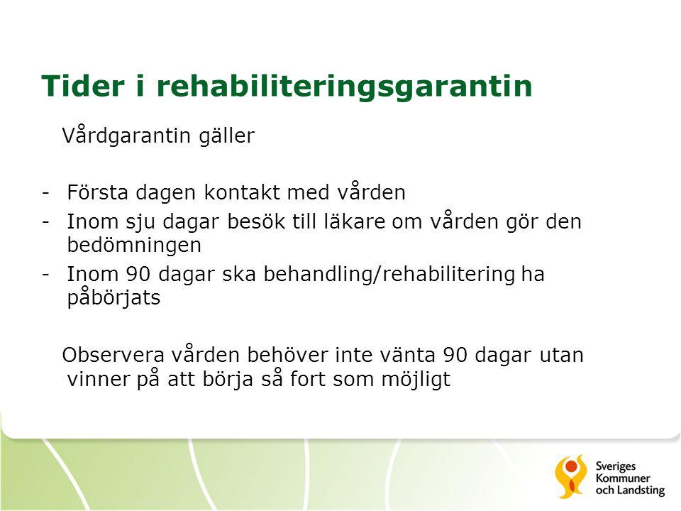 Tider i rehabiliteringsgarantin Vårdgarantin gäller -Första dagen kontakt med vården -Inom sju dagar besök till läkare om vården gör den bedömningen -