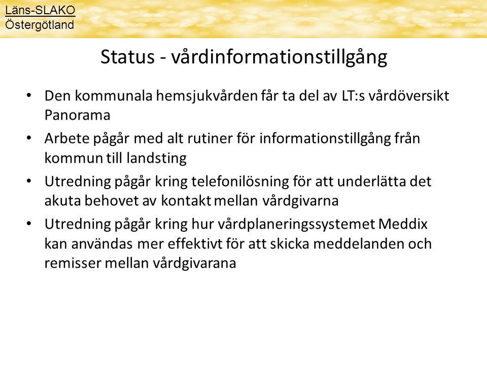 Status - vårdinformationstillgång Den kommunala hemsjukvården får ta del av LT:s vårdöversikt Panorama Arbete pågår med alt rutiner för informationsti