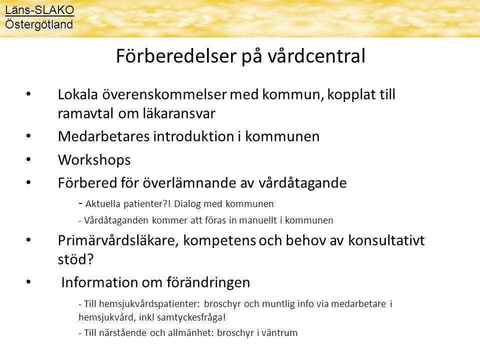 Förberedelser på vårdcentral Lokala överenskommelser med kommun, kopplat till ramavtal om läkaransvar Medarbetares introduktion i kommunen Workshops F