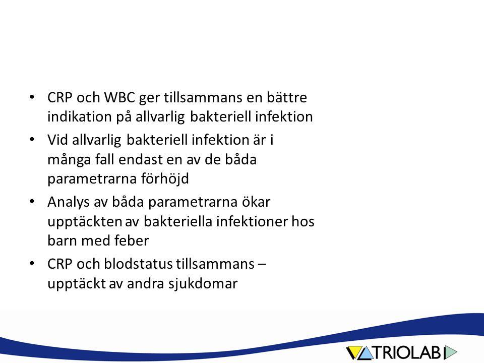 CRP och WBC ger tillsammans en bättre indikation på allvarlig bakteriell infektion Vid allvarlig bakteriell infektion är i många fall endast en av de