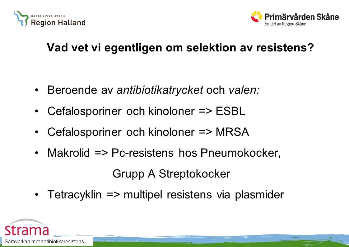 Samverkan mot antibiotikaresistens Vad vet vi egentligen om selektion av resistens? Beroende av antibiotikatrycket och valen: Cefalosporiner och kinol