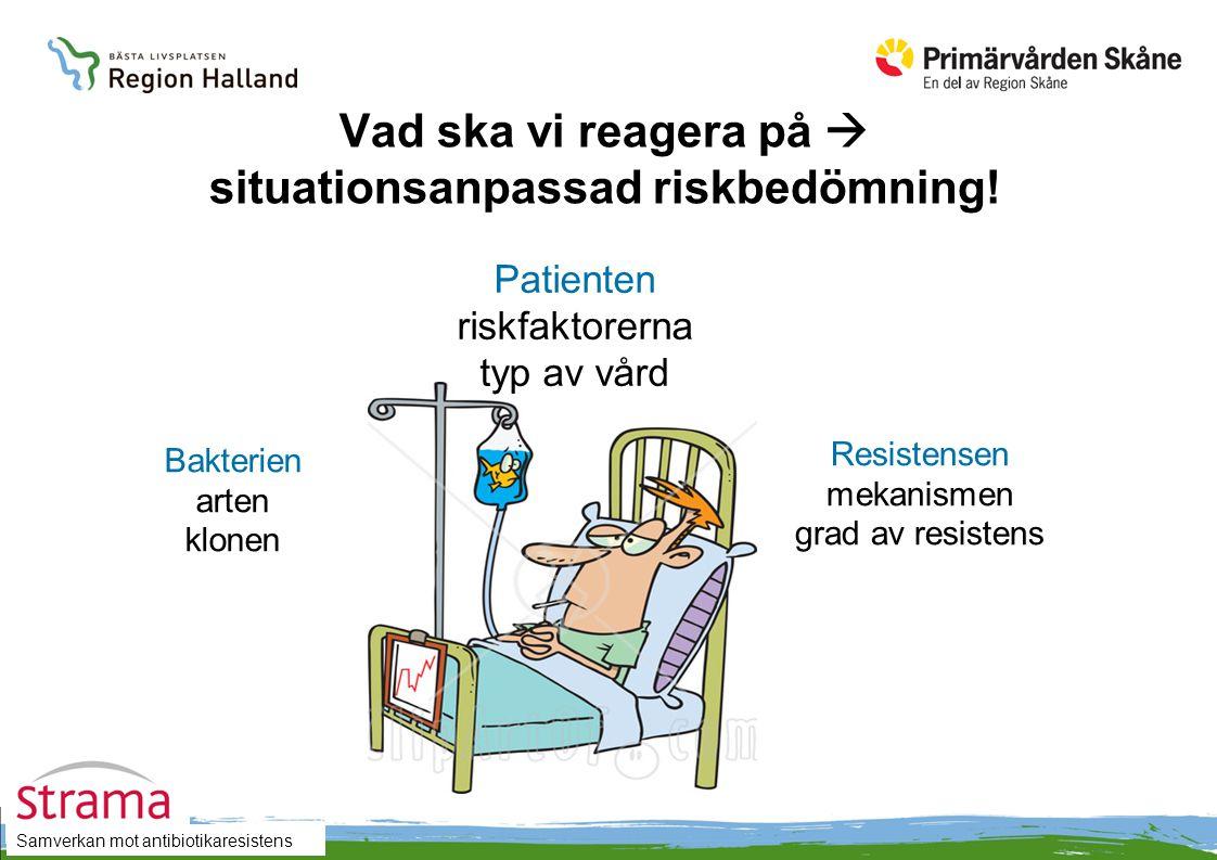 Vad ska vi reagera på  situationsanpassad riskbedömning! Patienten riskfaktorerna typ av vård Bakterien arten klonen Resistensen mekanismen grad av r