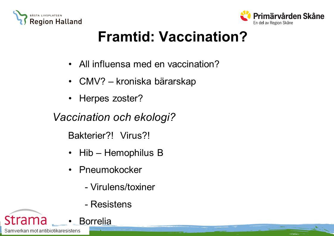 Samverkan mot antibiotikaresistens Framtid: Vaccination? All influensa med en vaccination? CMV? – kroniska bärarskap Herpes zoster? Vaccination och ek