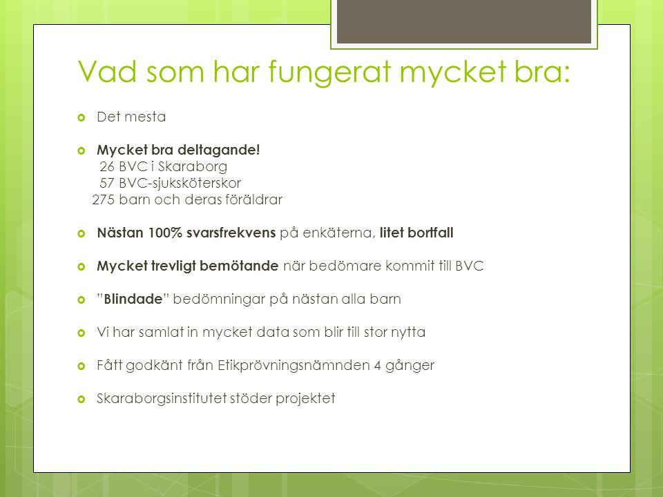 Vad som har fungerat mycket bra:  Det mesta  Mycket bra deltagande! 26 BVC i Skaraborg 57 BVC-sjuksköterskor 275 barn och deras föräldrar  Nästan 1