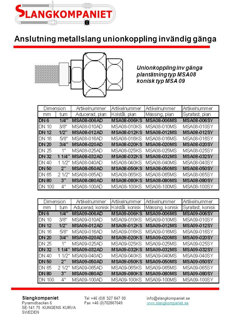 Unionkoppling inv gänga plantätning typ MSA08 konisk typ MSA 09 Anslutning metallslang unionkoppling invändig gänga Slangkompaniet Tel +46 (0)8 527 84