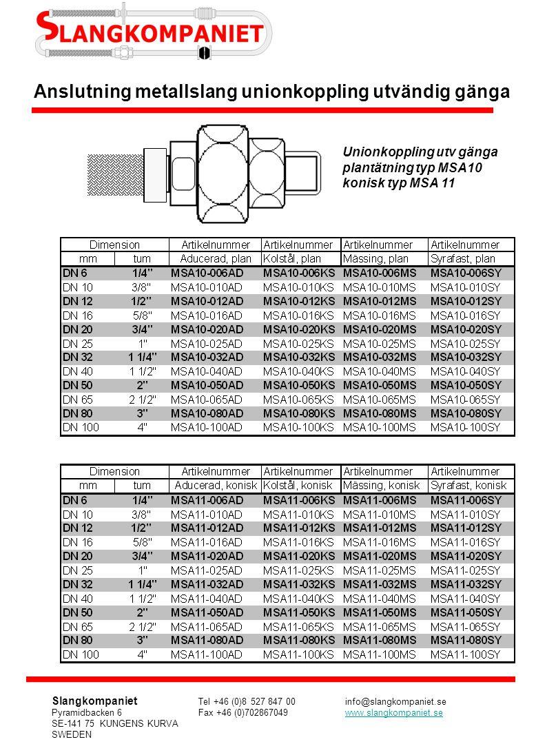Anslutning metallslang unionkoppling utvändig gänga Unionkoppling utv gänga plantätning typ MSA10 konisk typ MSA 11 Slangkompaniet Tel +46 (0)8 527 84