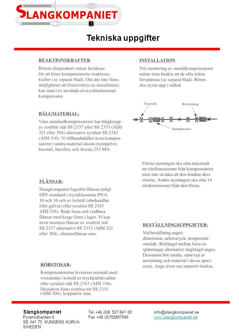 Tekniska uppgifter Slangkompaniet Tel +46 (0)8 527 847 00info@slangkompaniet.se Pyramidbacken 6Fax +46 (0)702867049www.slangkompaniet.sewww.slangkompa