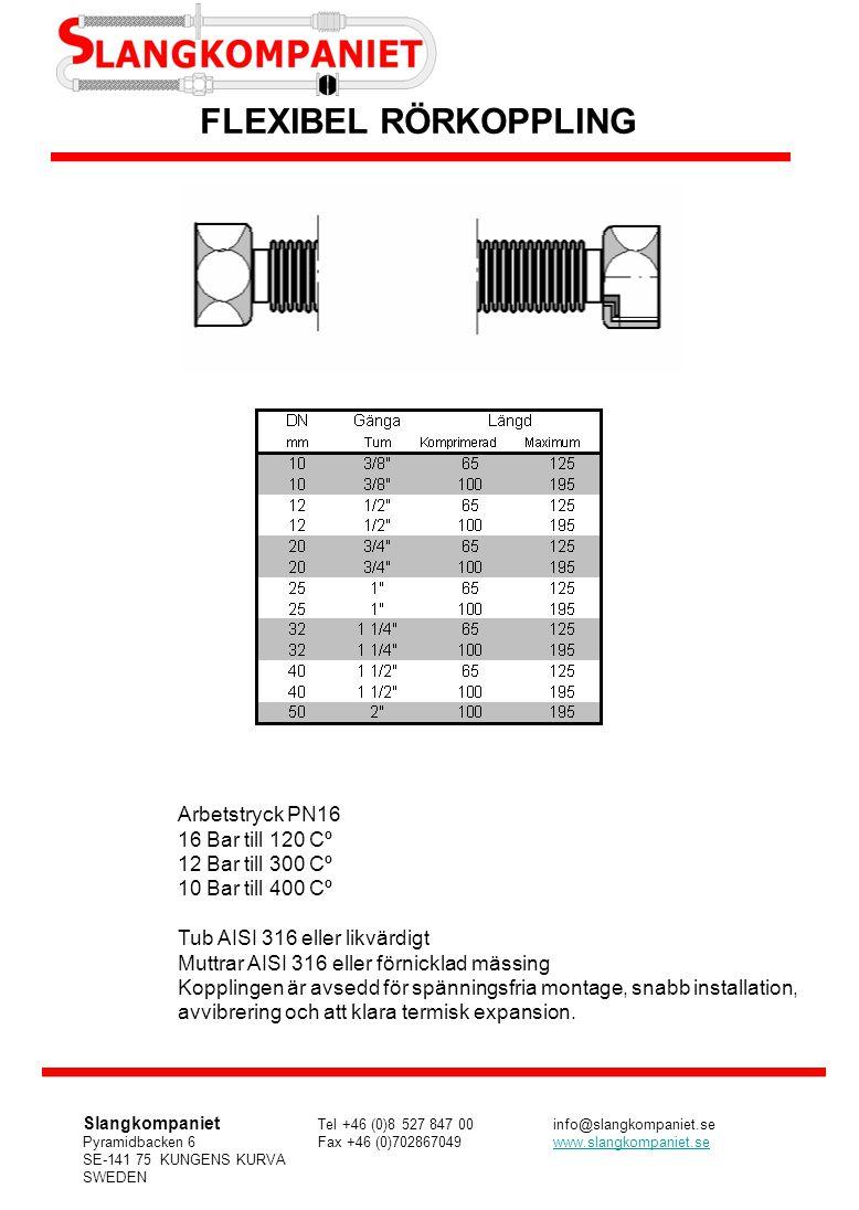 Arbetstryck PN16 16 Bar till 120 Cº 12 Bar till 300 Cº 10 Bar till 400 Cº Tub AISI 316 eller likvärdigt Muttrar AISI 316 eller förnicklad mässing Kopp